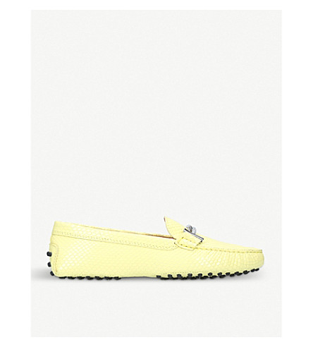 TODS Gommini reptile-embossed leather driving shoes (Lime
