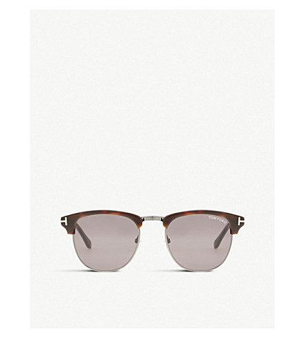 TOM FORD Tf0248 Henry square half-frame sunglasses (Tortoise+light