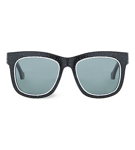 BALENCIAGA BA0009 Cracked rectangle sunglasses (Black+white