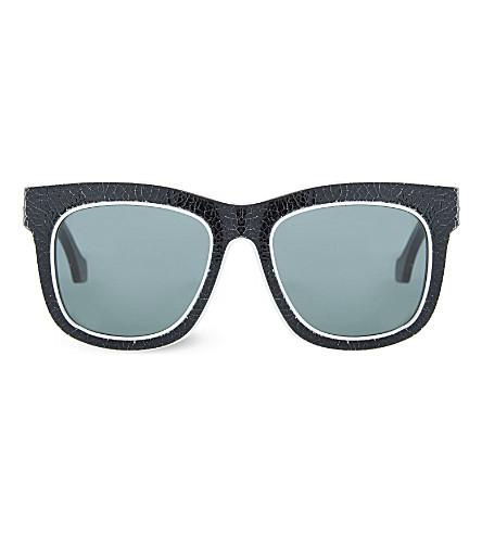 BALENCIAGA BA0009 Cracked rectangle sunglasses (Black+white