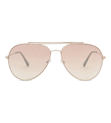 TOM FORD Indiana aviator sunglasses (Pink+gold