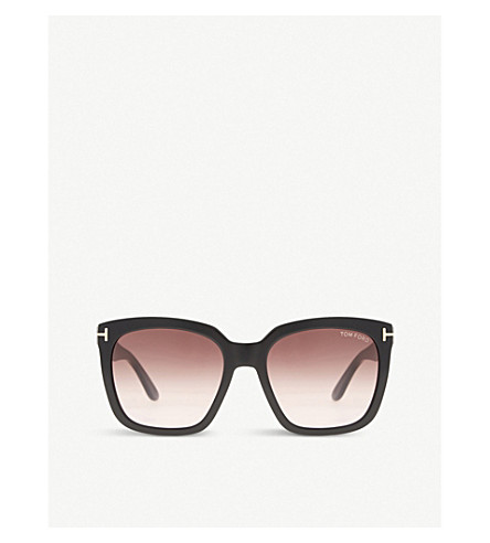 TOM FORD Amara TF502 square-frame sunglasses (Black+shiny