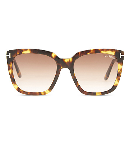 TOM FORD Amara TF502 square-frame sunglasses (Tortoise+brown