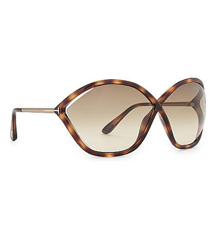 TOM FORD Bella Tf529 hexagon-frame sunglasses (Tortoise