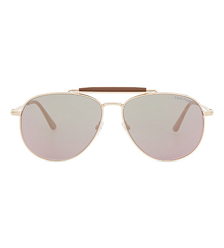 TOM FORD Sean aviator sunglasses (Pink+gold