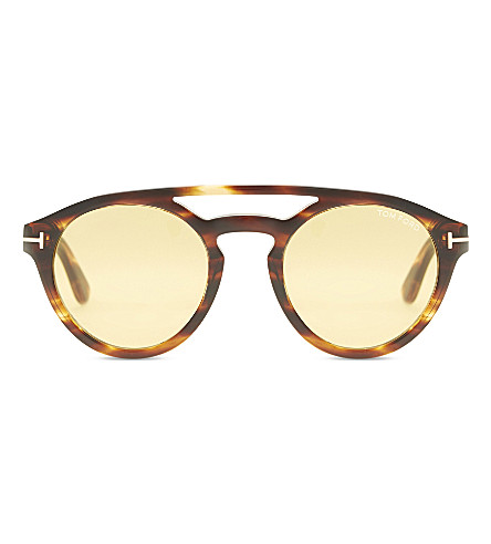 TOM FORD Clint TF537 round-frame sunglasses (Brown+shiny