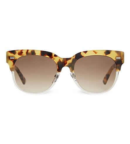 GUCCI G3744 tortoise shell half-frame sunglasses (Tortoise