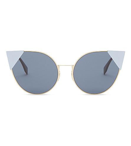 FENDI Ff0190/s 雷猫眼镜框太阳镜 (金色