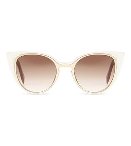 FENDI FI10136/S cat-eye-frame sunglasses (Gold+white