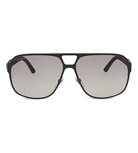 GUCCI GG2253 matte aviator sunglasses (Black+matte