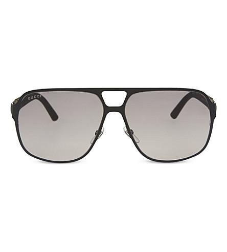 GUCCI GG2253 matte aviator sunglasses (Black+matte