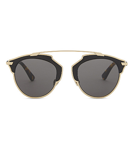 DIOR SoReal round-frame sunglasses (Gold+black