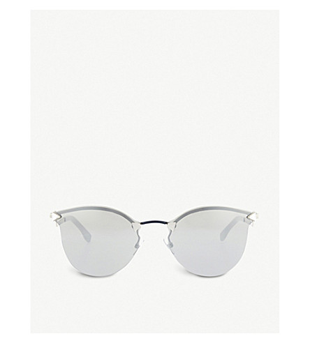 FENDI Ff0039 mirrored round-frame sunglasses (Silver+blue