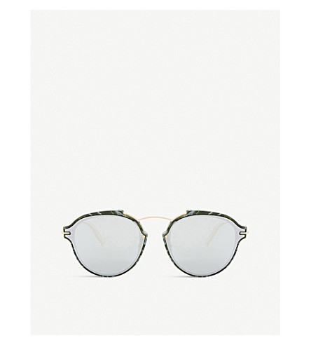 DIOR Eclat oval-frame sunglasses (Green+brown