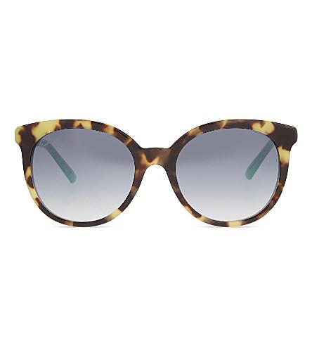 GUCCI Gg3674 tortoiseshell round-frame sunglasses (Tortoise+green