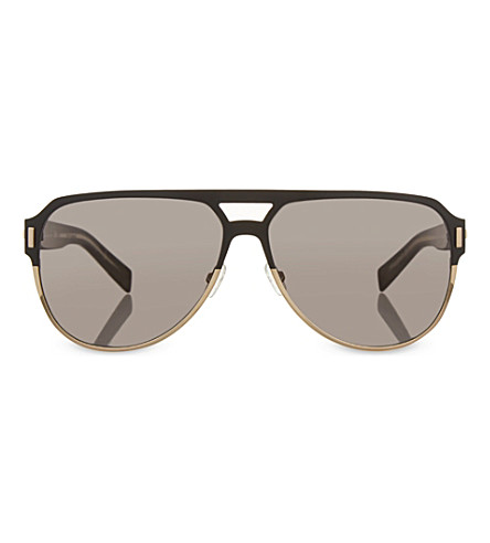 DIOR Gold-toned pilot sunglasses (Black+matte