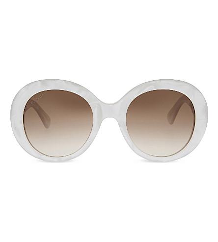 GUCCI GG3815 Round-frame sunglasses (White silver