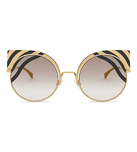 FENDI FF 0215/s cat eye-frame sunglasses (Gold+black