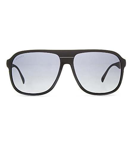 GUCCI Matte square sunglasses (Black+matte