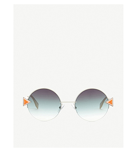 FENDI FF0243/S irregular round sunglasses (Silver+green