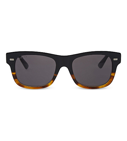 GUCCI GG1078 tortoise rectangle sunglasses (Tortoise+black