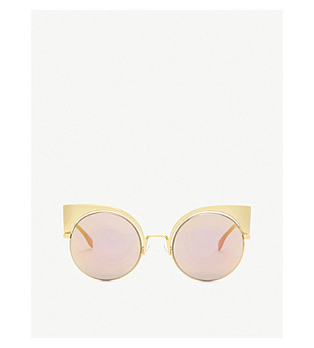 FENDI Ff0177 round-frame sunglasses (Yellow gold