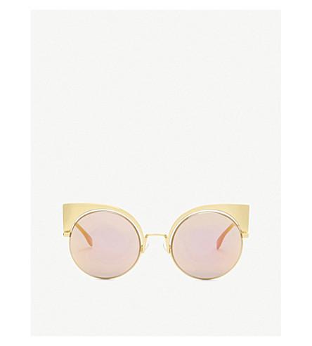 FENDI Ff0177 round-frame sunglasses (Yellow+gold