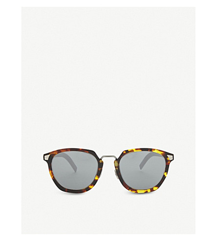 DIOR Tailoring 1 square-frame tortoiseshell mirror lens sunglasses (Yellow+red