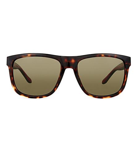 GUCCI Gg1118 tortoiseshell-effect square-frame sunglasses (Tortoise+green