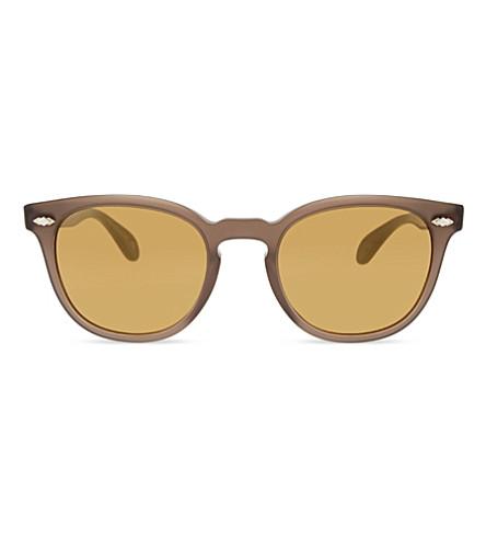 OLIVER PEOPLES Ov5315su 谢尔德雷克加圆形框架太阳镜 (棕色
