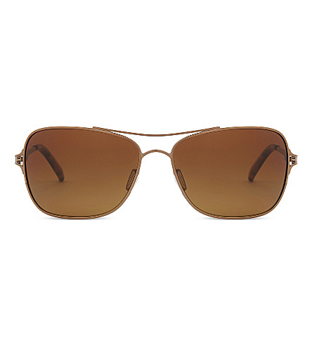 OAKLEY Oo4101-59 Conquest satin rose-gold metal Aviator sunglasses (Satin+rose+gold