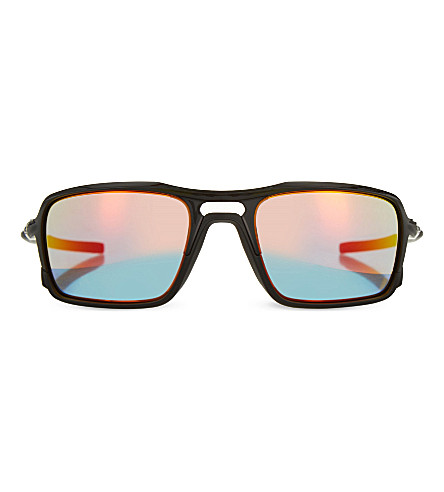 OAKLEY 009266-03 mirrored rectangle sunglasses (Polished+black