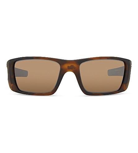 OAKLEY Oo4119 矩形框架太阳镜 (棕色