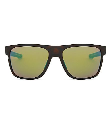 OAKLEY Oo9360 58 Crossrange square-frame mirror lens sunglasses (Matte+tortoise