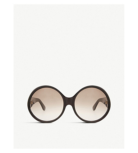 SAINT LAURENT Sl57 round-frame sunglasses (Tortoise+brown