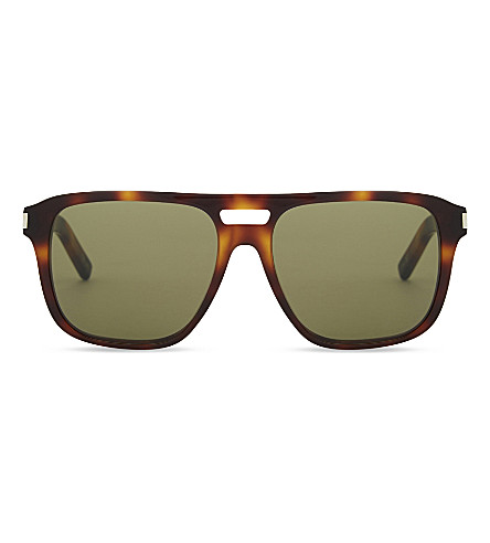SAINT LAURENT SL 87 003 tortoiseshell square-frame sunglasses (Brown+tortoise