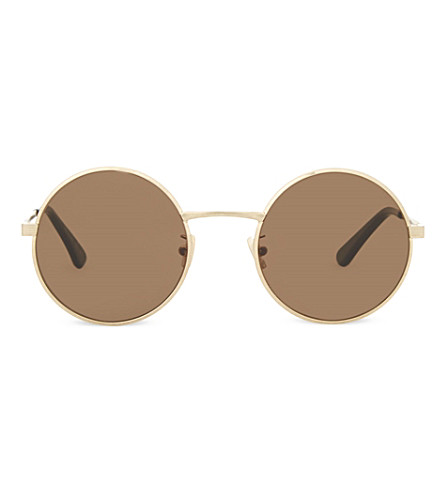 SAINT LAURENT SL136 Zero round-frame sunglasses (Gold
