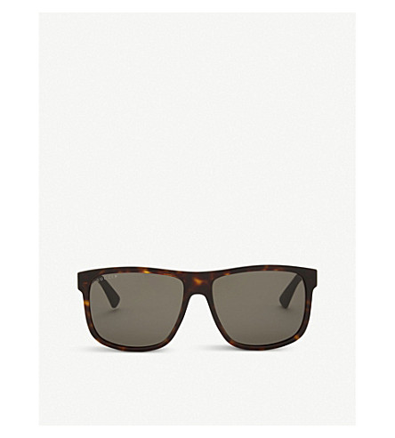 GUCCI Gg0010 rectangle-frame sunglasses (Tortoise