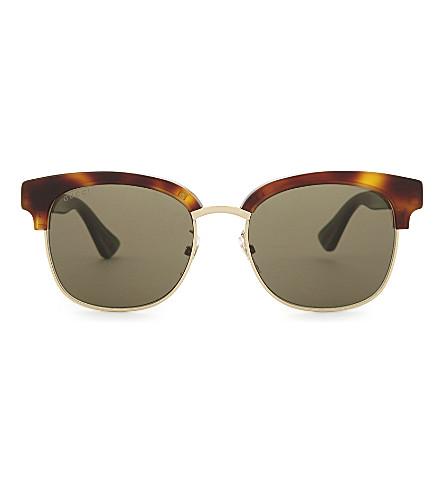 GUCCI Gg0056s square-frame sunglasses (Tortoise