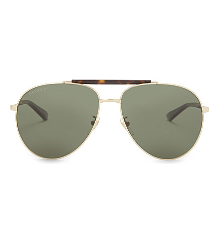GUCCI Gg0014s aviator sunglasses (Gold
