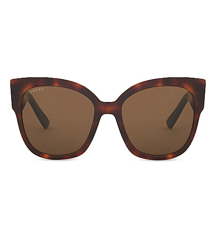 GUCCI GG0059S rectangle-frame sunglasses (Tortoise