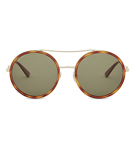GUCCI GG0061S round-frame sunglasses (Gold