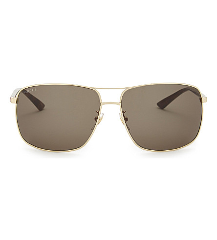 GUCCI Gg00065 rectangle-frame sunglasses (Gold