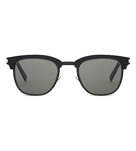 SAINT LAURENT SL108 slim oval-frame sunglasses (Black