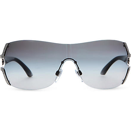 BVLGARI Swarovski crystal wrap around sunglasses (Palladium