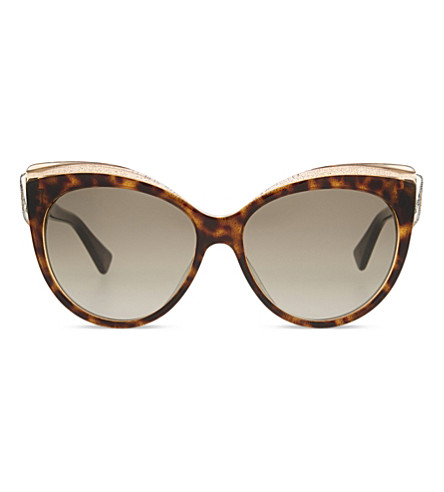 DIOR Glisten cat eye-frame sunglasses (Brown+clear