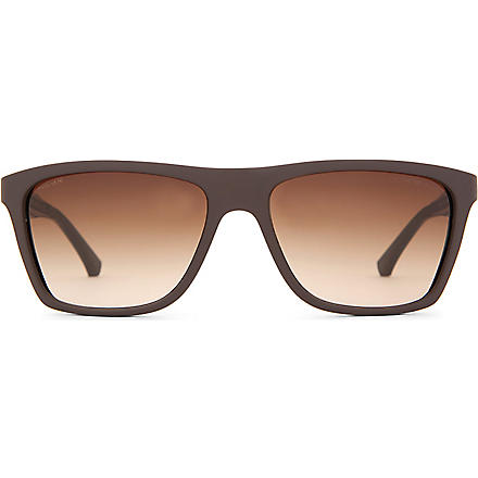 EMPORIO ARMANI Matt Wayfarer-style sunglasses (Brown