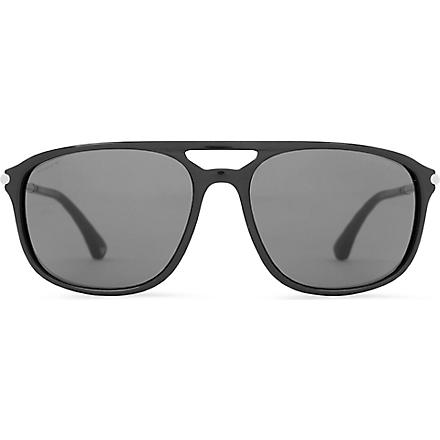 EMPORIO ARMANI Black Aviator-style sunglasses (Black