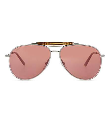 GUCCI GG2235 Bamboo aviator sunglasses (Gunmetal
