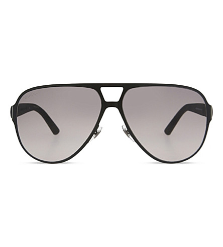 GUCCI Gg2252 web stripe aviator sunglasses (Black+matte